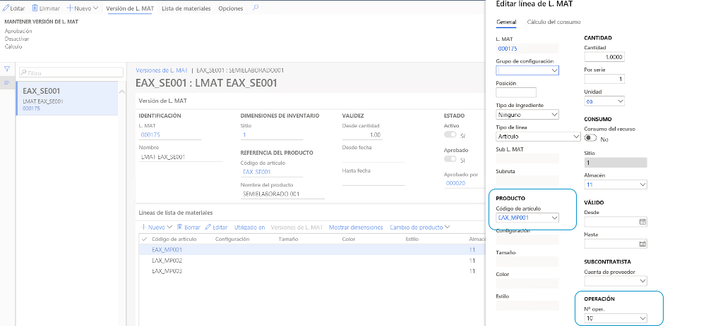 lineas de materiales dynamics 365 finance and operations