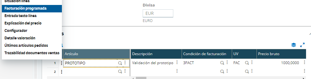 condiciones de facturación pedido de venta sage x3