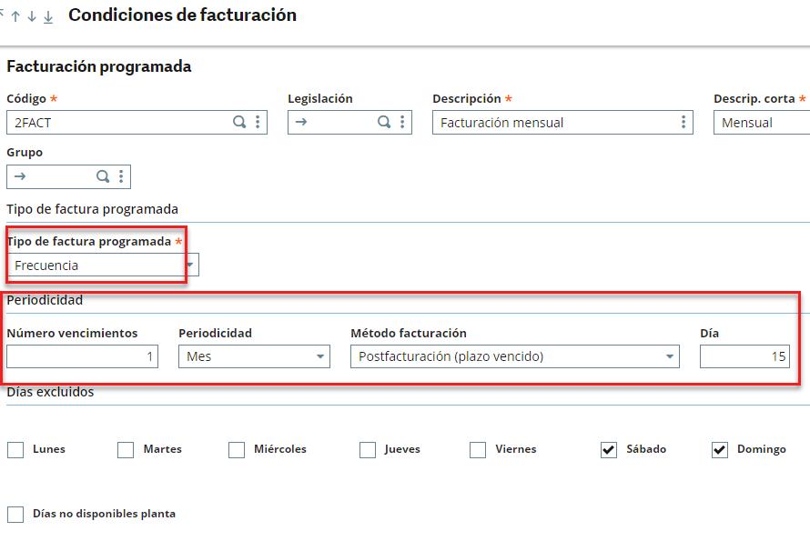 condiciones de facturación frecuencia sage x3